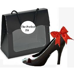 Gourmet Chocolate Black High Heel in Clear Purse