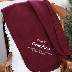 Embroidered We Love You Throw Blanket