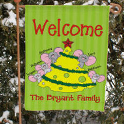 Personalized Mice Family Garden Flag