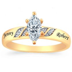 Gold Over Sterling Silver Personalized Diamond Ring