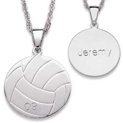 Sterling Silver Engraved Volleyball Necklace