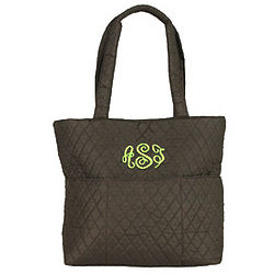 Personalized Chocolate Quilted Diaper Bag