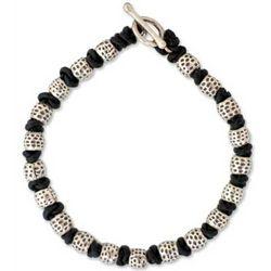 Thai Knot Men's Silver Bead & Leather Bracelet