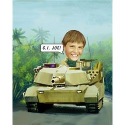 Tank Caricature Personalized Photo Print