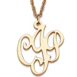 Gold Over Sterling Initial Script Monogram Necklace