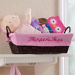 Pink Personalized Girl's Storage Basket