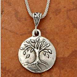 Engraved Sterling Silver Tree of Life Necklace