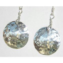 Dainty Hammered Silver Earrings