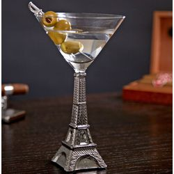 Silver Eiffel Tower Martini Glass