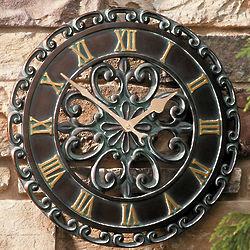 Copper Verdigris Outdoor Clock