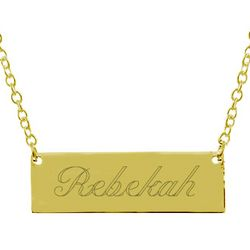 Celebrity Inspired Engraved Gold Vermeil Name Plate Necklace