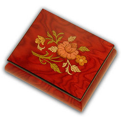 Perfect Red Music Box with Elegant Floral Inlay