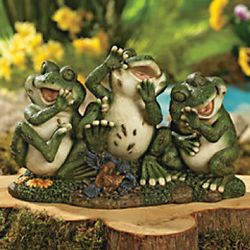 Laughing Frogs Garden Statue