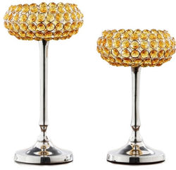 Yellow Beaded Candle Holder Set