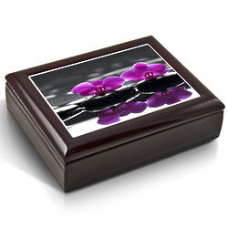 Purple Orchids Tile Musical Jewelry Box