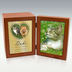 Engravable Paws On My Heart Wooden Photo Urn