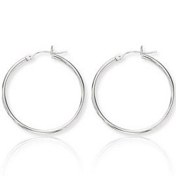 14K White Gold Medium Hoop Earrings
