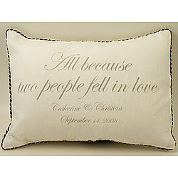"Personalized ""All Because Two People"" Pillow"