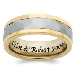 Men's Tungsten Two-tone Faceted Engraved Message Band