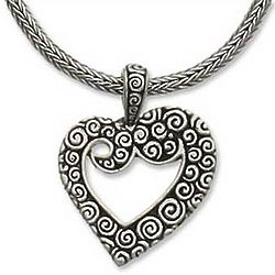 Javanese Heart Sterling Silver Necklace