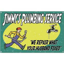 Personalized Vintage Plumber Husband Sign