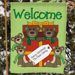 Personalized Teddy Bear Family Garden Flag