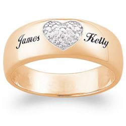 14K Gold Plated Couples Name Diamond Heart Ring