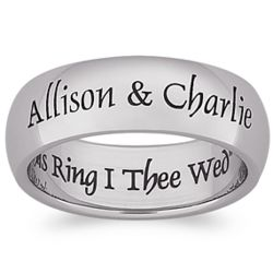 With this Ring Stainless Steel Engraved Wedding Band