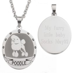 Personalized Stainless Steel Poodle Necklace
