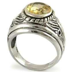 Solar Flame Men's Citrine Dome Ring
