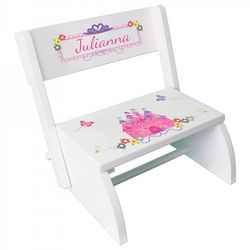 Personalized White Flip Stool