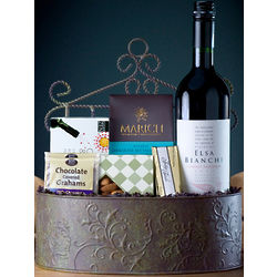 Wine and Chocolate Decorative Basket