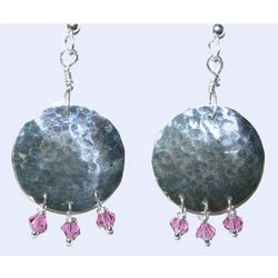 Hammered Silver Earrings with Pink Crystal Beads