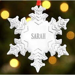 Personalized Name Silver Snowflake Ornament