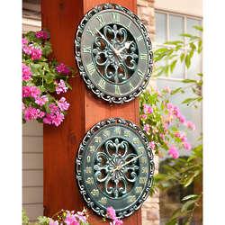 """14"""" Copper Verdigris Outdoor Clock & Thermometer Duo"""