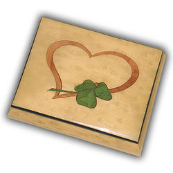 Light Wooden Music Box with Heart and Irish Clover