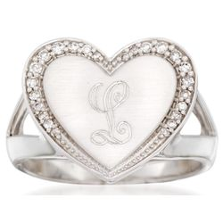 Personalized Initial Diamond Heart Ring in Sterling Silver