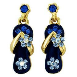 Royal Blue Crystal Flower Strap Earring in Gold Plate