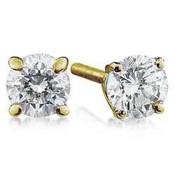 1/2ct Round Diamond Solitaire Earrings in 14k Yellow Gold