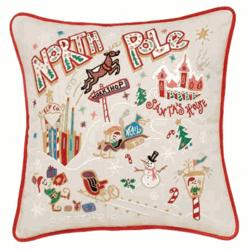 Hand Embroidered North Pole Accent Pillow