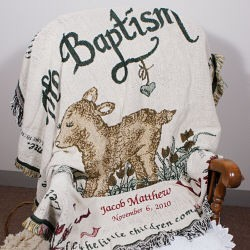 Embroidered Baptism Throw