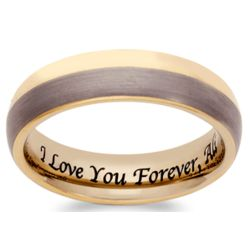 Men's Tungsten Two-Tone Engraved Message Band