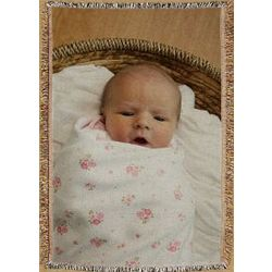 Personalized New Baby Photo Tapestry Throw Blanket