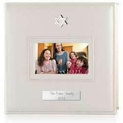 Personalized White Photo Album with Silver Star of David