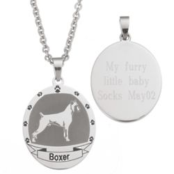 Personalized Stainless Steel Boxer Necklace