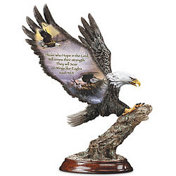 On Eagle's Wings Sculpture with Scripture