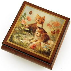 Kitten Frolic Natural Wood Tone Ercolano Music and Jewelry Box