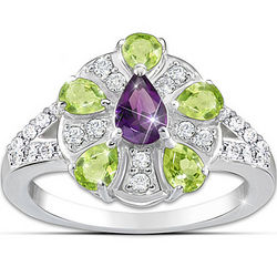 Regal Peridot, Amethyst and Topaz Ring