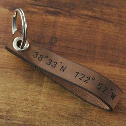 Personalized Latitude Longitude Leather Keychain