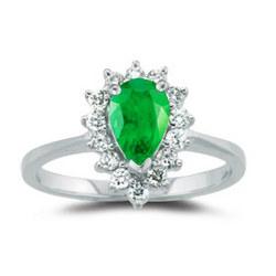 Diamond & Emerald Ring in 18K White Gold